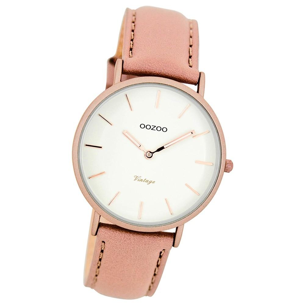 Oozoo Damen-Uhr Ultra Slim Quarzuhr Leder-Armband pinkgrau UOC7747