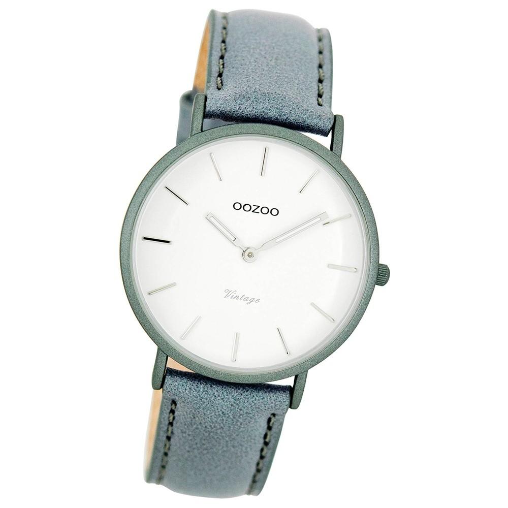 Oozoo Damen-Uhr Ultra Slim Quarzuhr Leder-Armband aquagrau blaugrau UOC7748