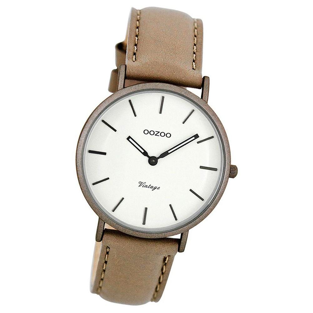 Oozoo Damen-Uhr Ultra Slim Quarzuhr Leder-Armband taupe braun UOC7749