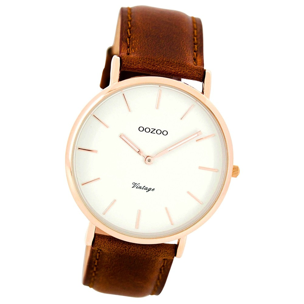 Oozoo Damen Herren-Uhr Ultra Slim Quarzuhr Leder-Armband braun UOC7760
