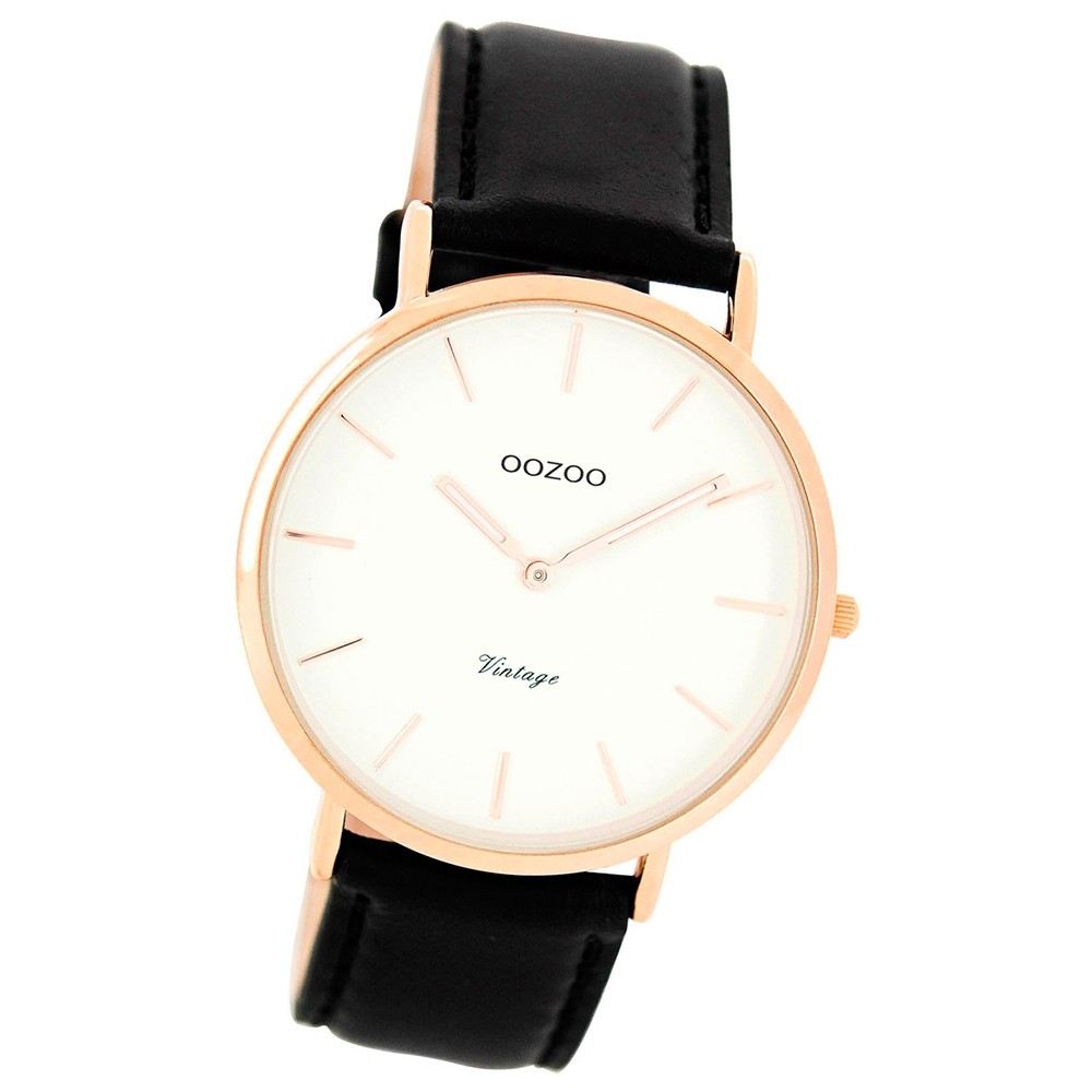 Oozoo Damen Herren-Uhr Ultra Slim Quarzuhr Leder-Armband schwarz UOC7761