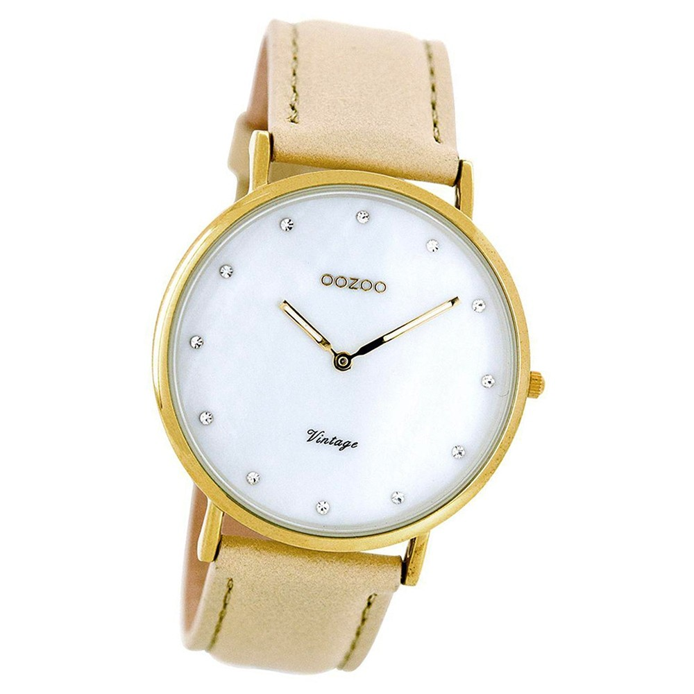 Oozoo Damen-Uhr Ultra Slim Quarzuhr Leder-Armband sand beige hellbraun UOC7780