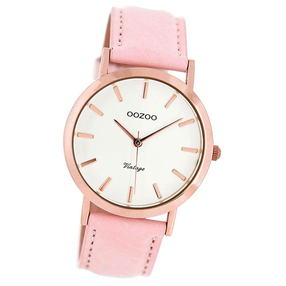 Oozoo Damen-Uhr Ultra Slim Quarzuhr Leder-Armband rosa UOC8103