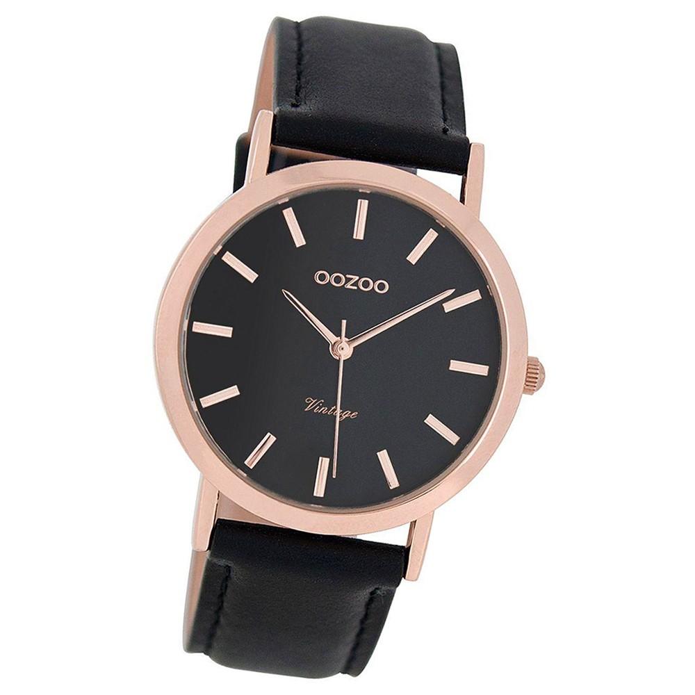 Oozoo Damen-Uhr Ultra Slim Quarzuhr Leder-Armband schwarz UOC8114