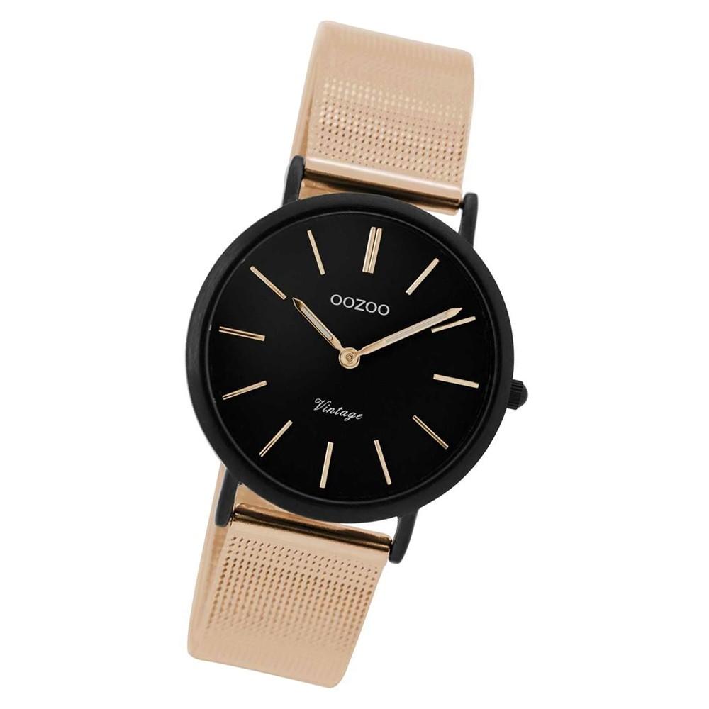 Oozoo Damen Uhr schwarz Ultra Slim Quarz C8878 Metallarmband rosegold UOC8878