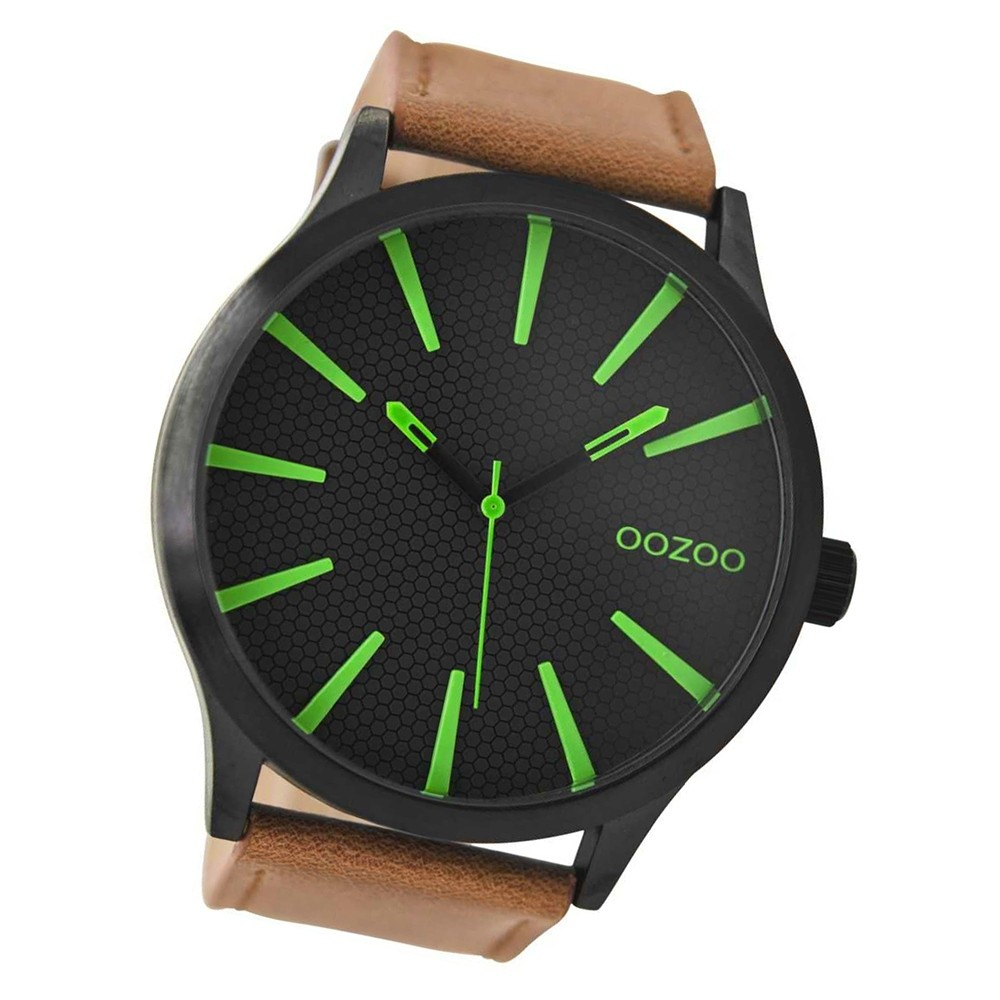 Oozoo Herren Armbanduhr schwarz Timepieces C9041 Lederarmband braun UOC9041