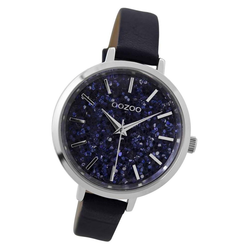 Oozoo Damen Armbanduhr silber Timepieces Quarz C9220 Lederarmband blau UOC9220