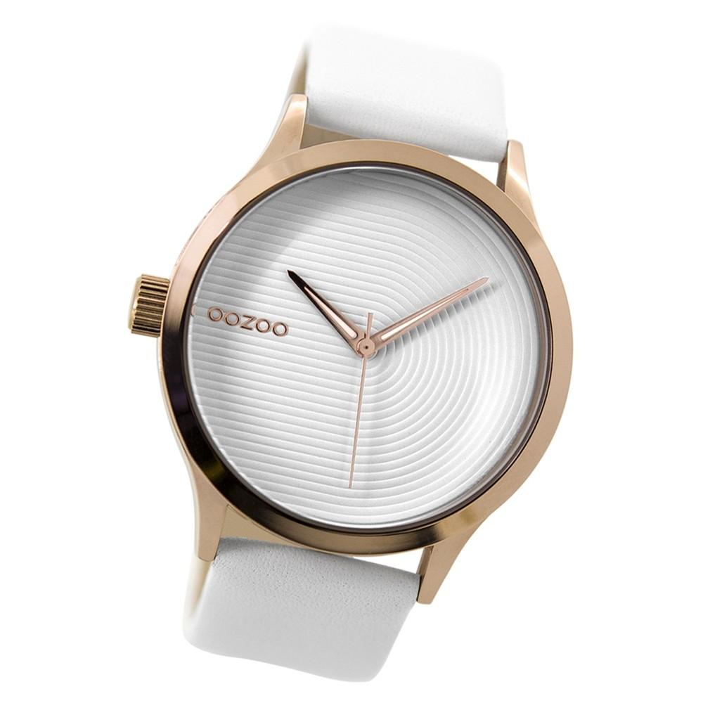 Oozoo Damen Armbanduhr rosegold Timepieces Quarz C9430 Lederarmband weiß UOC9430