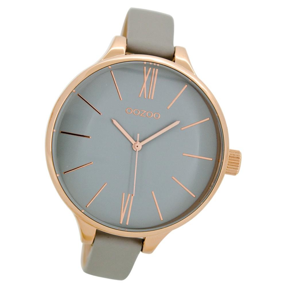 Oozoo Damen Armbanduhr rosegold Timepieces Quarz C9542 Lederarmband grau UOC9542