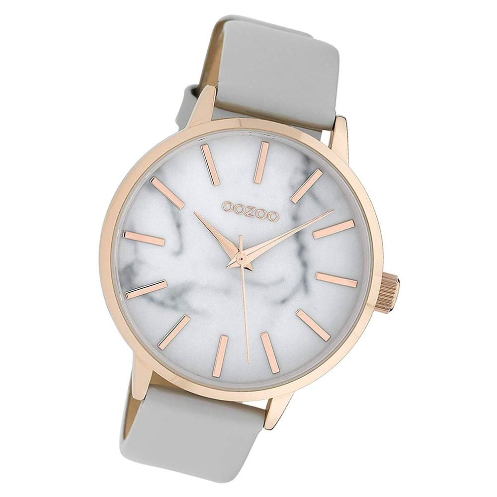 Oozoo Damen Armbanduhr Timepieces C9755 Quarz Leder hellgrau UOC9755