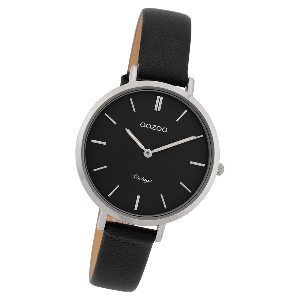 Oozoo Damen Armbanduhr Ultra Slim C9818 Quarz Leder schwarz UOC9818