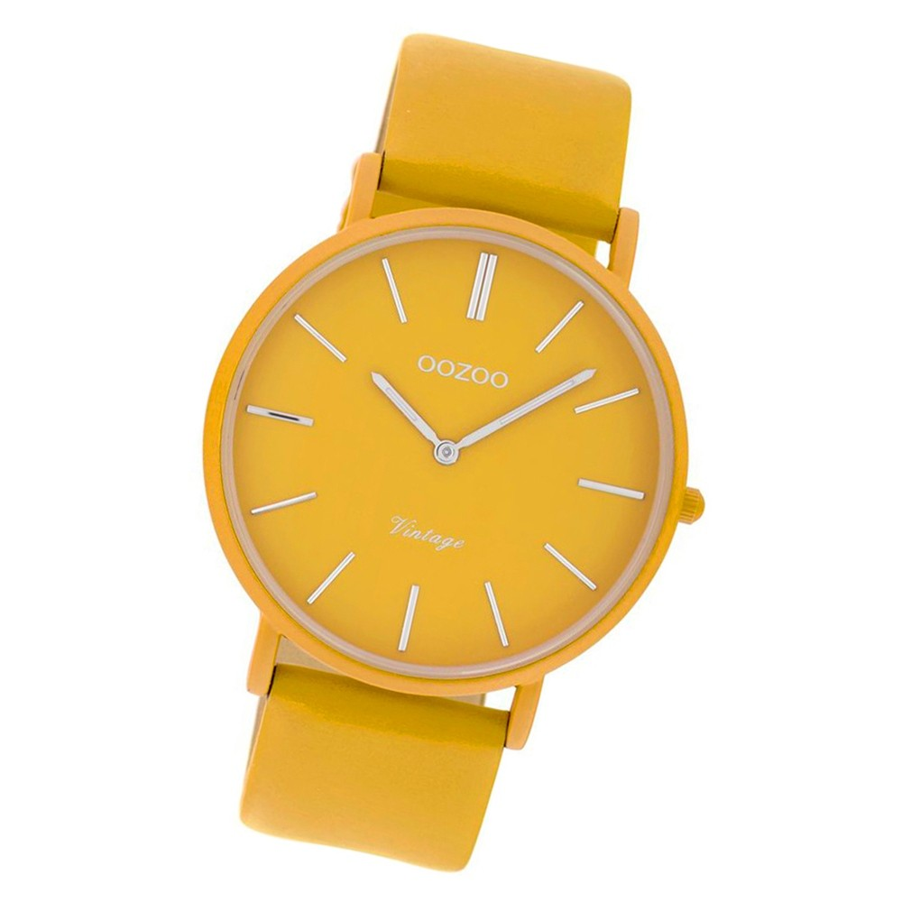Oozoo Damen Armbanduhr Ultra Slim C9887 Quarzwerk Leder gelb UOC9887