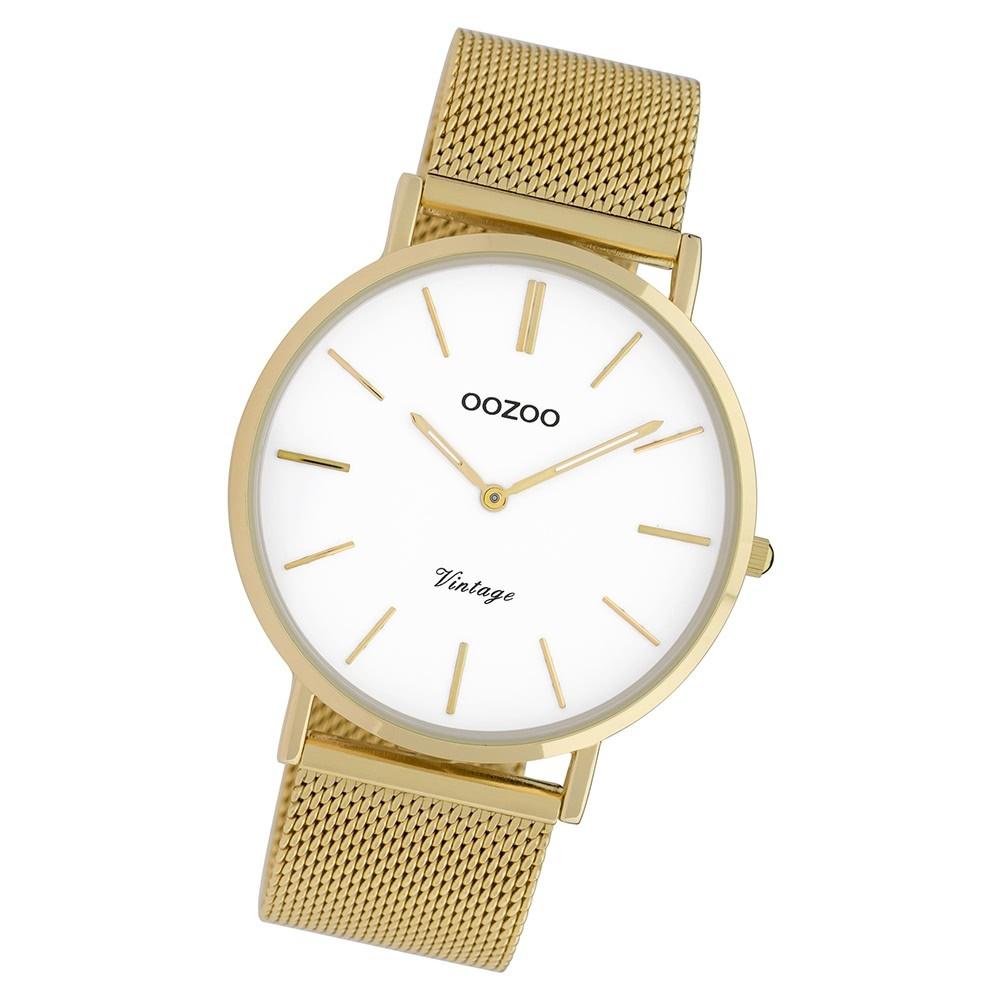 Oozoo Herren Armbanduhr Ultra Slim C9909 Quarz Stahl gold UOC9909