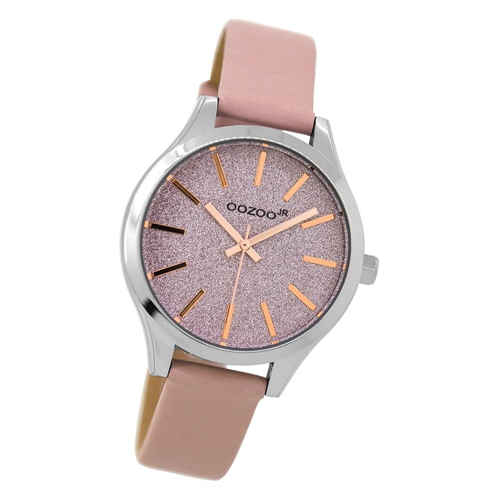 Oozoo Jugend Armbanduhr silber Timepieces Quarz JR297 Lederarmband rosa UOJR297