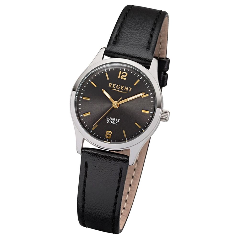 Regent Damen-Armbanduhr F-1308 Quarz-Uhr Leder-Armband schwarz UR2113417