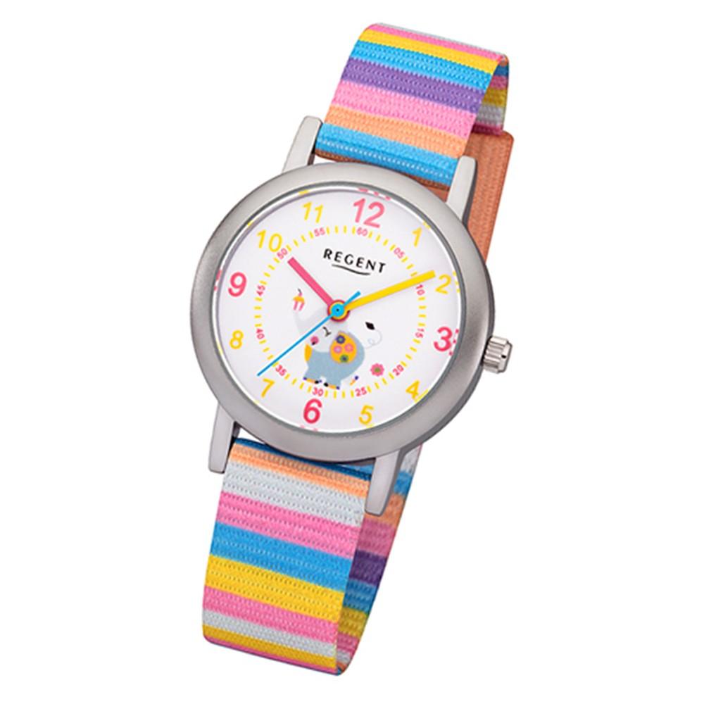 Regent Kinder-Armbanduhr BA-379 Quarz-Uhr Textil-Armband mehrfarbig URBA379