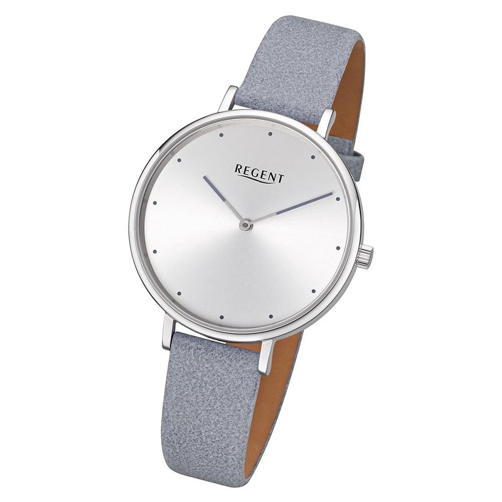 Regent Damen Armbanduhr Analog BA-450 Quarz-Uhr Leder grau URBA450