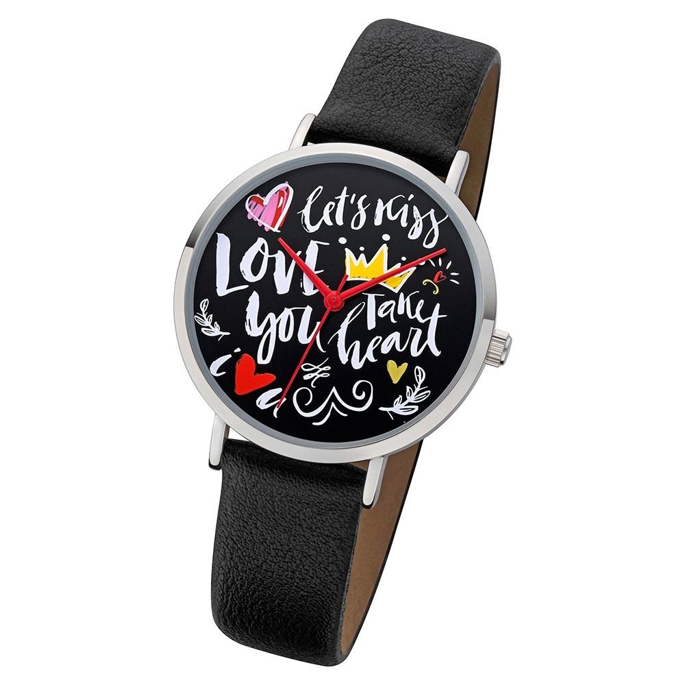 Regent Damen Armbanduhr Analog BA-512 Quarz-Uhr Scribble Leder schwarz URBA512