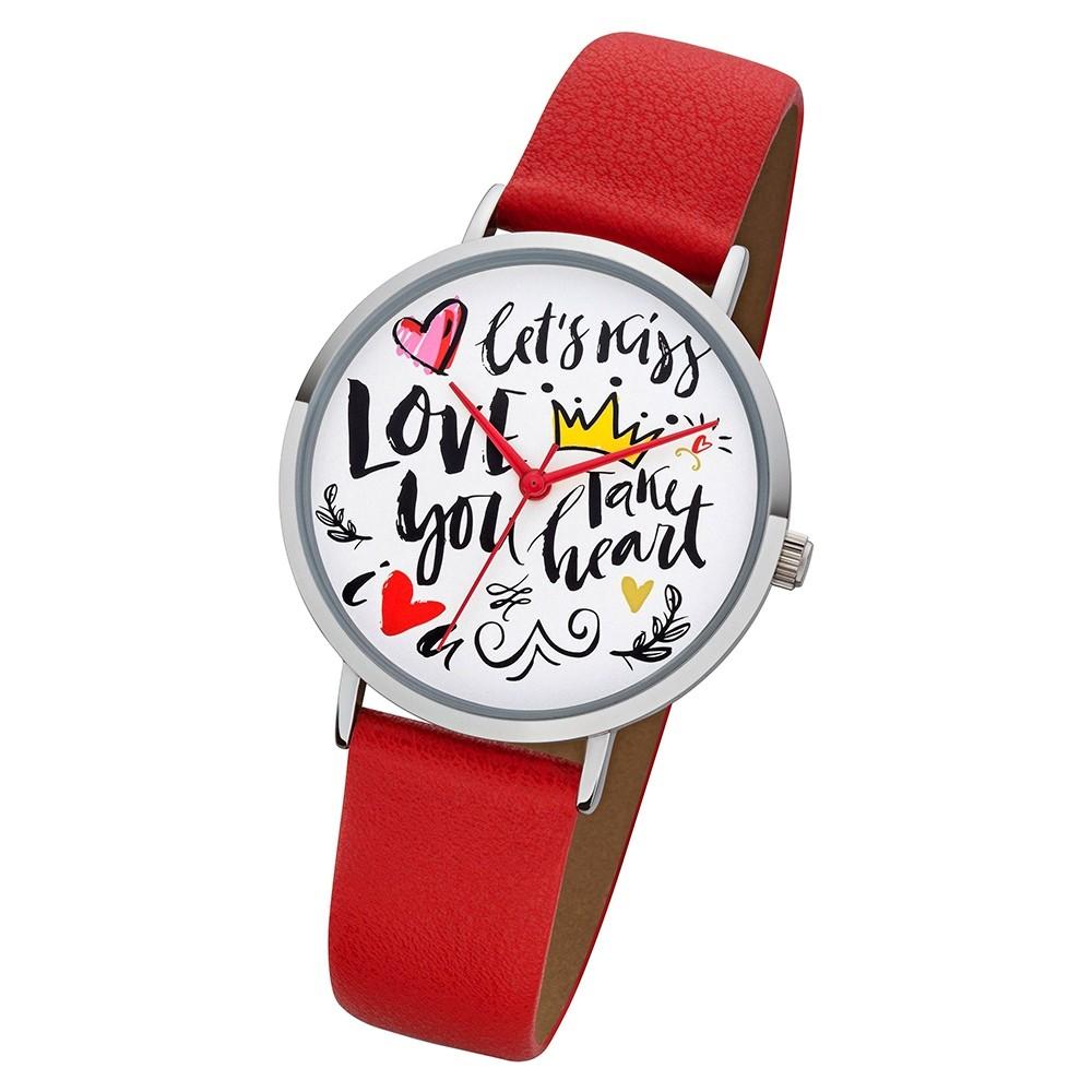 Regent Damen Armbanduhr Analog BA-513 Quarz-Uhr Scribble Leder rot URBA513
