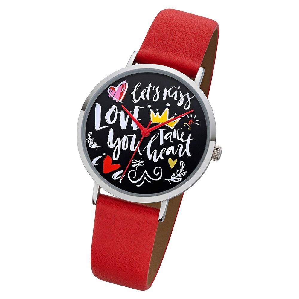 Regent Damen Armbanduhr Analog BA-514 Quarz-Uhr Scribble Leder rot URBA514