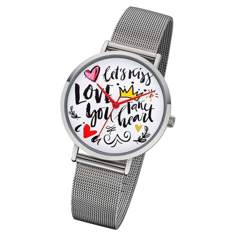 Regent Damen Armbanduhr Analog BA-515 Quarz-Uhr Scribble Metall silber URBA515