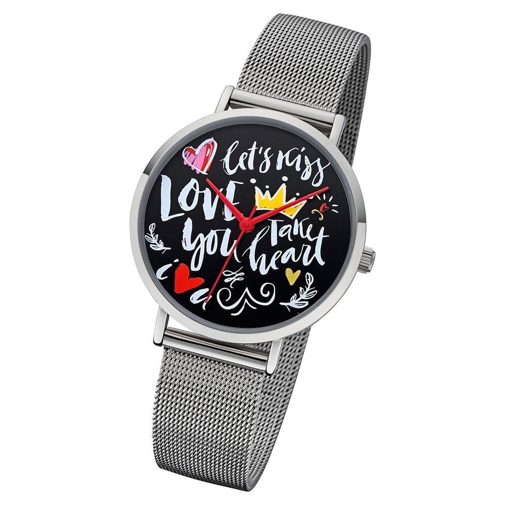 Regent Damen Armbanduhr Analog BA-516 Quarz-Uhr Scribble Metall silber URBA516