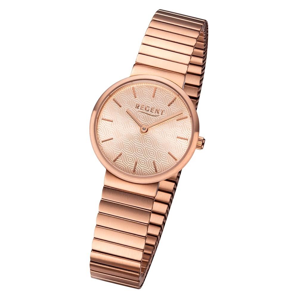 Regent Damen Armbanduhr Analog BA-583 Quarz-Uhr Edelstahl rosegold URBA583