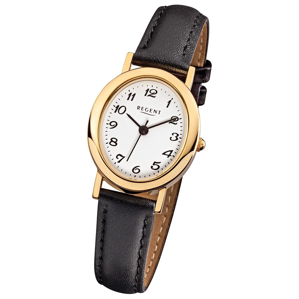 Regent Damen-Armbanduhr - Lederarmband - Quarz Leder schwarz URF002
