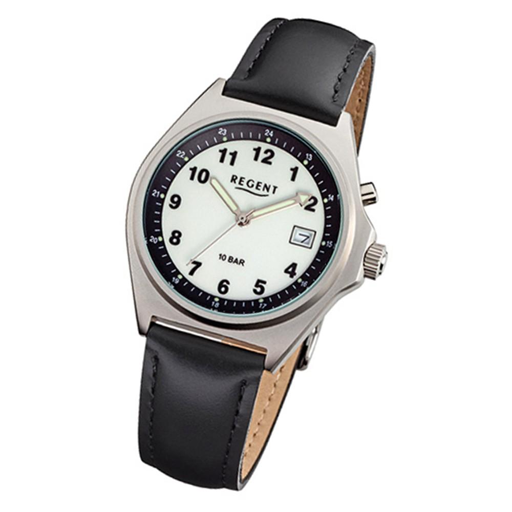 Regent Herren-Armbanduhr 32-F-096 Quarz-Uhr Leder-Armband schwarz URF096