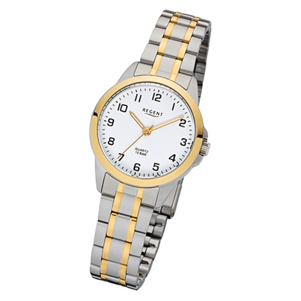 Regent Damen-Armbanduhr 32-F-1006 Edelstahl-Armband silber gold URF1006