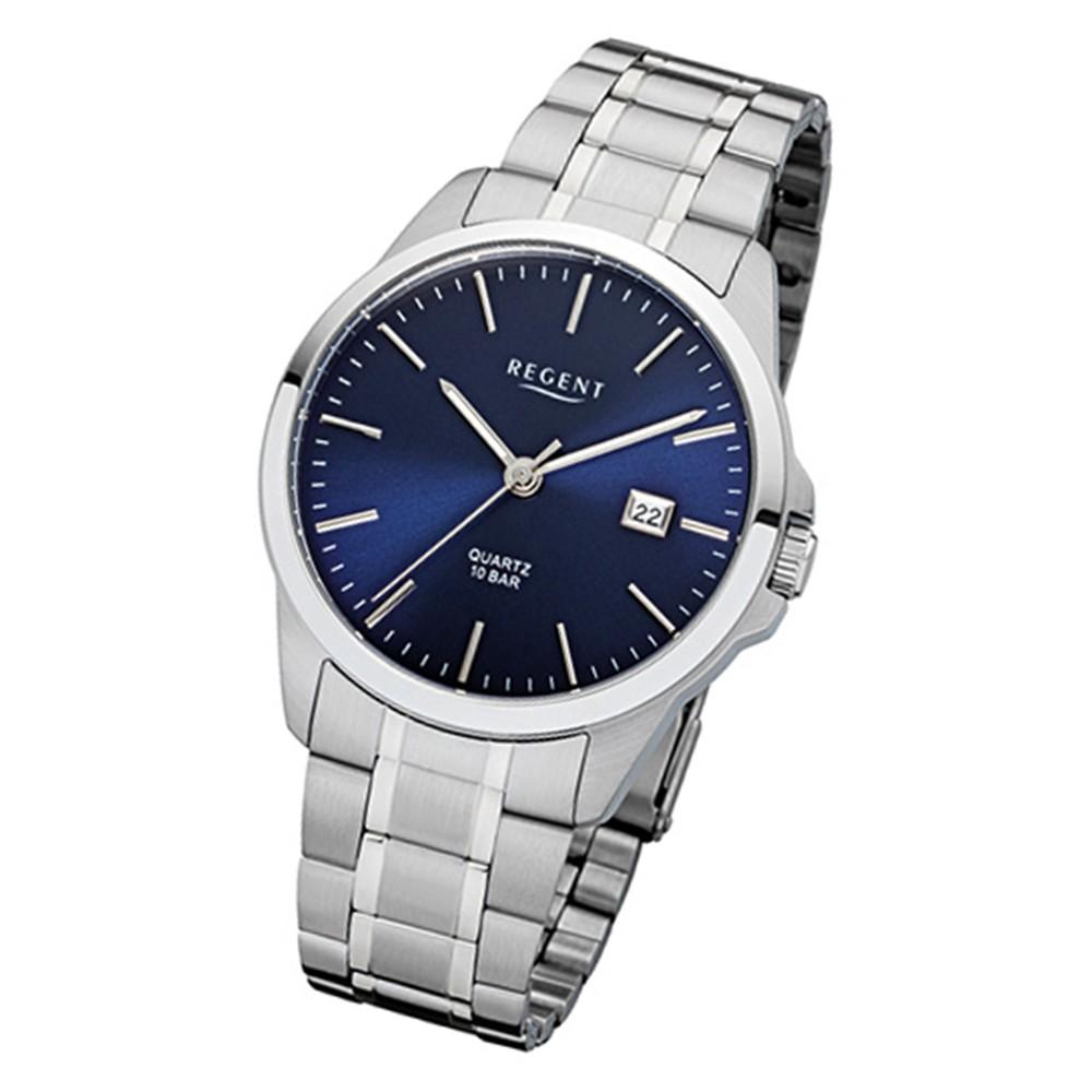 Regent Herren-Armbanduhr 32-F-1011 Quarz-Uhr Edelstahl-Armband silber URF1011