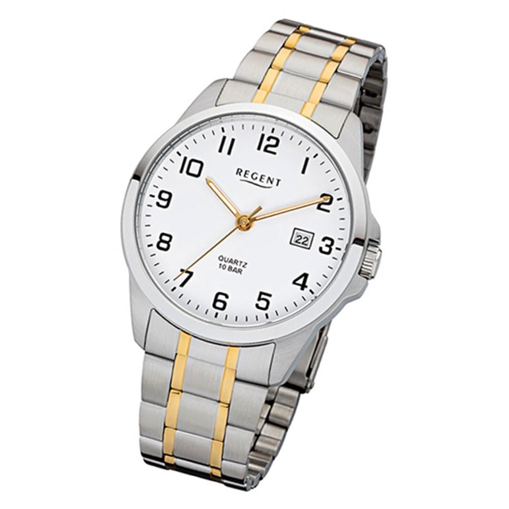 Regent Herren-Armbanduhr 32-F-1014 Edelstahl-Armband silber gold URF1014