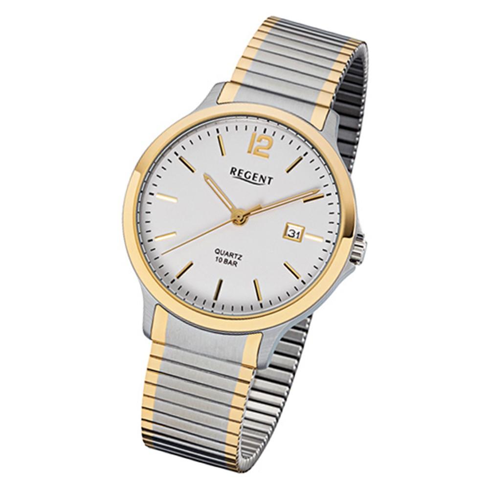 Regent Herren-Armbanduhr 32-F-1021 Edelstahl-Armband silber gold URF1021