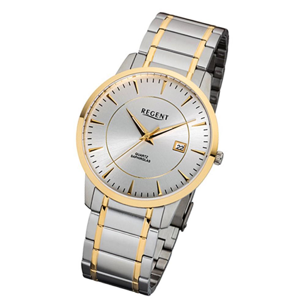 Regent Herren-Armbanduhr 32-F-1046 Quarz-Uhr Edelstahl-Armband silber gold URF10 URF1046