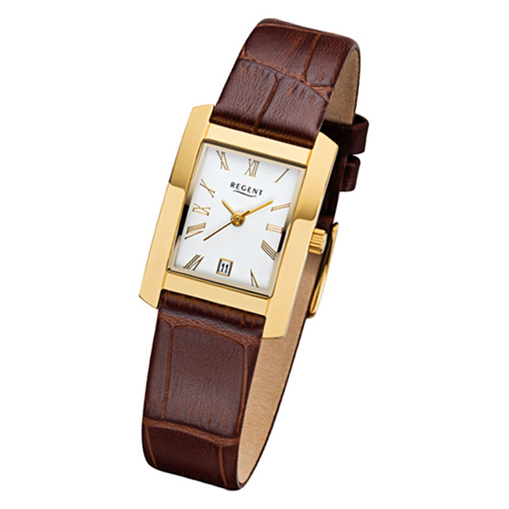 Regent Damen-Armbanduhr 32-F-1069 Quarz-Uhr Leder-Armband braun URF1069