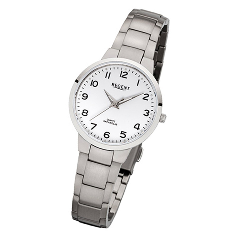 Regent Damen-Armbanduhr 32-F-1091 Quarz-Uhr Titan-Armband silber URF1091