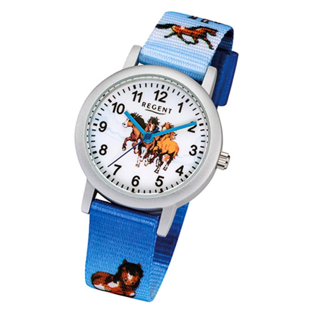 Regent Kinder-Armbanduhr 32-F-1118 Quarz-Uhr Textil-Armband blau URF1118
