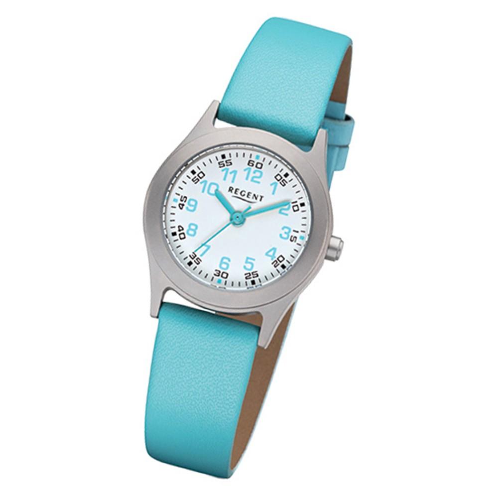 Regent Kinder-Armbanduhr 32-F-1119 Quarz-Uhr Leder-Armband türkis URF1119