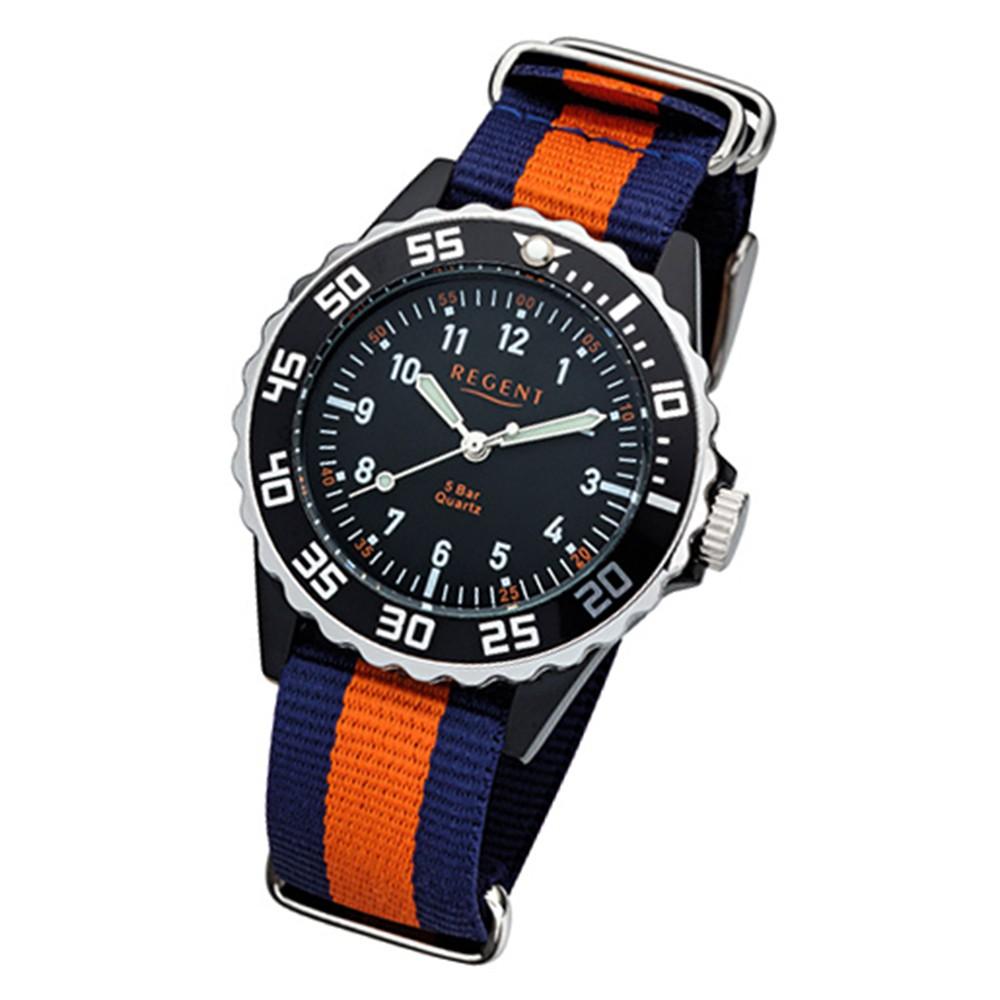 Regent Kinder, Jugend-Armbanduhr 32-F-1125 Textil, Stoff-Armband blau orange URF URF1125