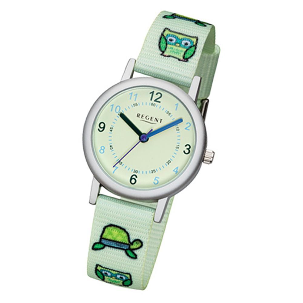 Regent Kinder-Armbanduhr F-1127 Quarz-Uhr Textil-Armband grün URF1127