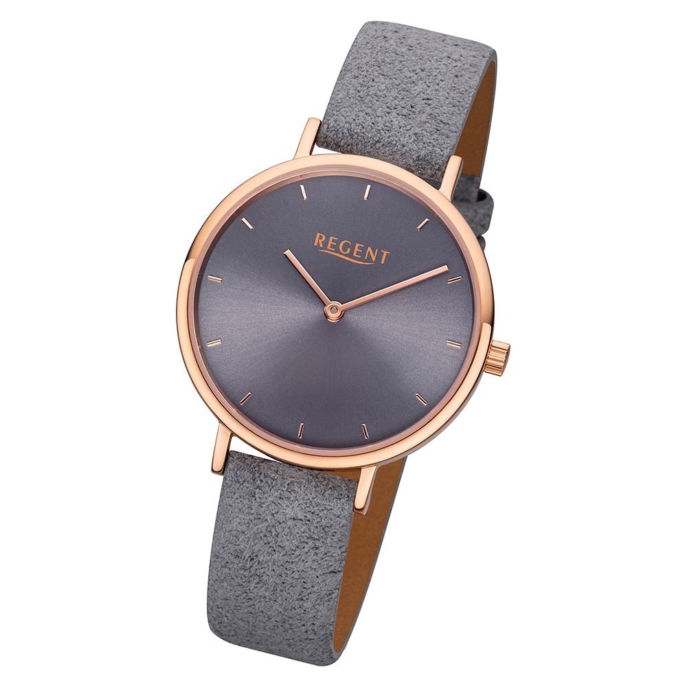 Regent Damen Armbanduhr Analog F-1139 Quarz-Uhr Leder grau URF1139