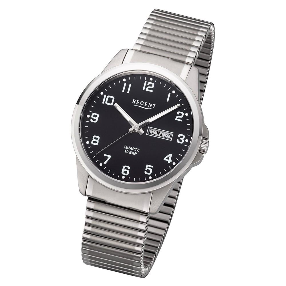 Regent Herren Armbanduhr Analog F-1199 Quarz-Uhr Titan silber URF1199