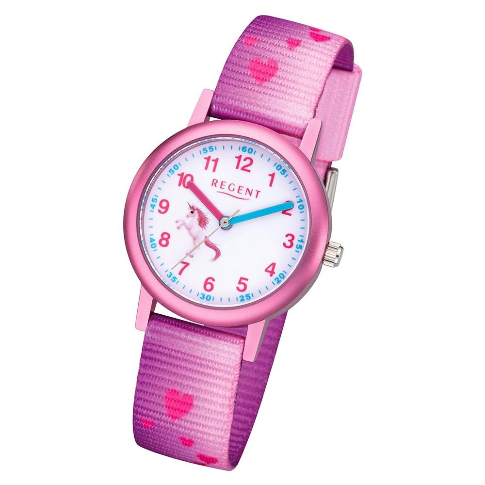 Regent Kinder Armbanduhr Analog F-1207 Quarz-Uhr Textil rosa URF1207