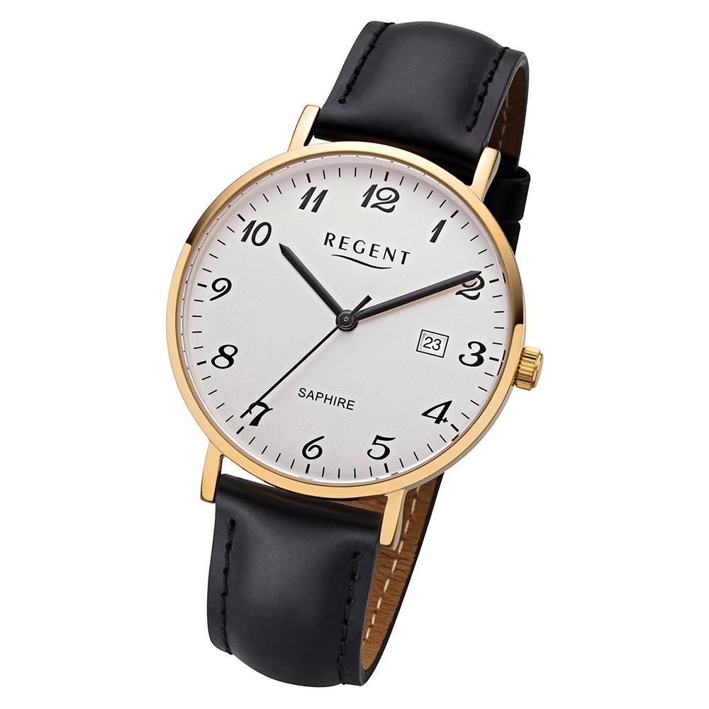 Regent Herren Armbanduhr Analog F-1230 Quarz-Uhr Leder schwarz URF1230