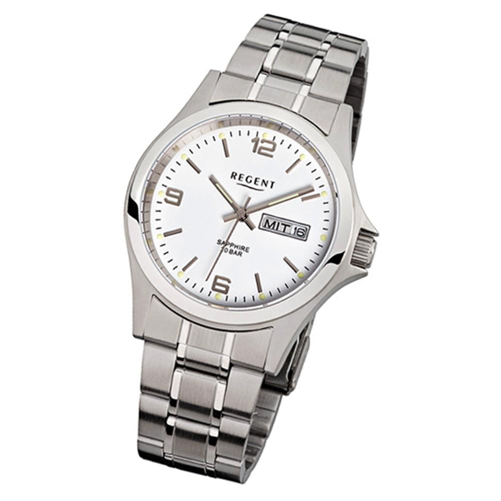 Regent Herren-Uhr Quarzwerk Metallarmband Uhr Edelstahl silber URF129