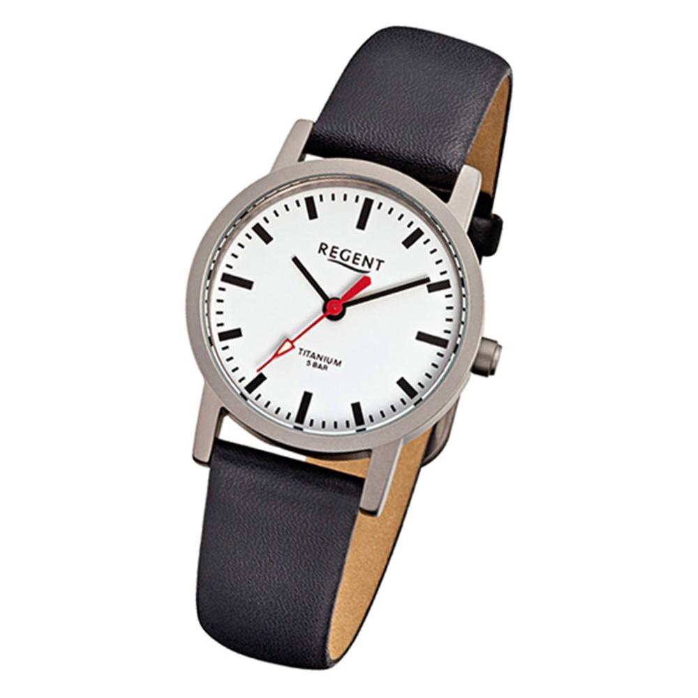 Regent Damen-Armbanduhr Titan Damenuhr - Quarz Leder schwarz Uhr URF240