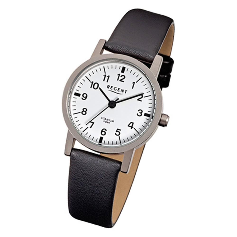 Regent Damen-Armbanduhr F-241 Titan-Uhr Leder-Armband schwarz URF241