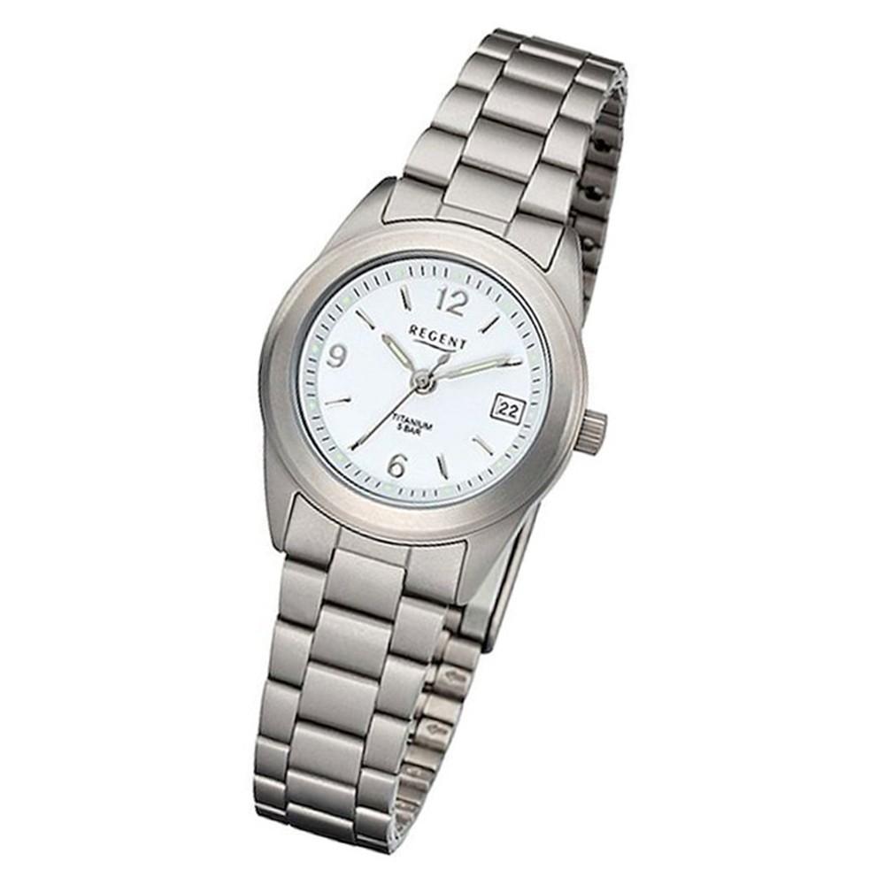 Regent Damen Armbanduhr Analog F-256 Quarz-Uhr Titan silber URF256