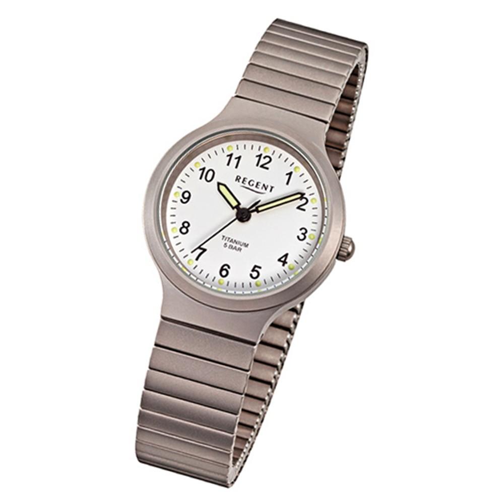 Regent Damen, Herren-Armbanduhr F-275 Quarz-Uhr Titan-Armband silber grau URF275