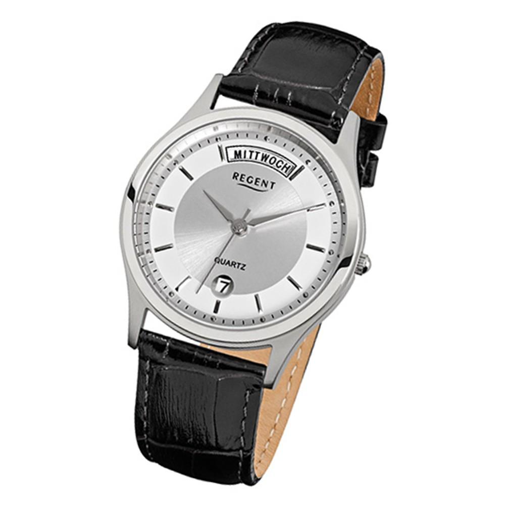 Regent Herren-Armbanduhr Quarz Leder schwarz Herrenuhr mit Lederband Uhr URF354